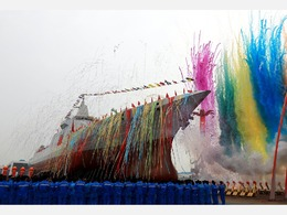 震撼!直击055上海下水仪式